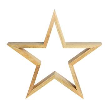 Nkuku - Chana Mango Wood Decorative Star - Natural - Large (H47 x W50 x D9cm)