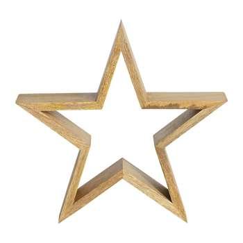 Nkuku - Chana Mango Wood Decorative Star - Natural - Small (H24 x W24 x D9cm)