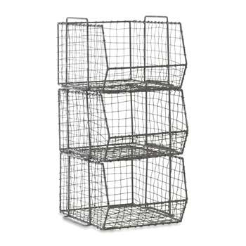 Nkuku - Distressed Grey Locker Room Stacking Shelf - Set of 3 (H64 x W33 x D38cm)