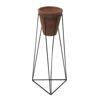 Nkuku - Jara Terracotta Planter & Iron Stand - Large (H63 x W29 x D29cm)