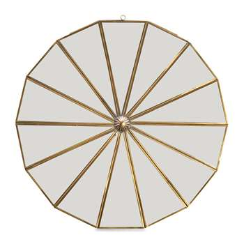 Nkuku - Kiko Decorative Mirror - Antique Brass (Diameter 43cm)