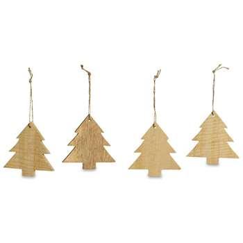 Nkuku - Mango Wood Large Trees Tree Decoration - Set of 4 (H9 x W9 x D1cm)