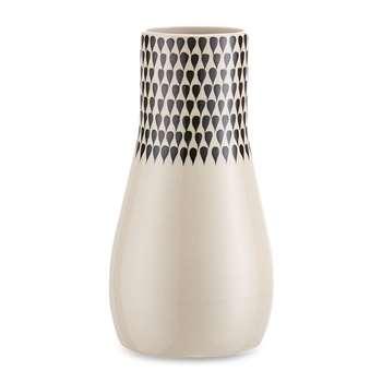 Nkuku - Matamba Ceramic Vase - Large - Black Droplets (H19 x W10 x D10cm)