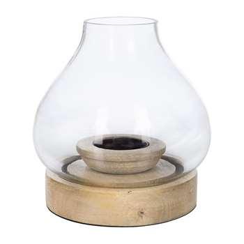 Nkuku - Naryla Glass Lantern - Mango Wood - Small (H14 x W13 x D13cm)
