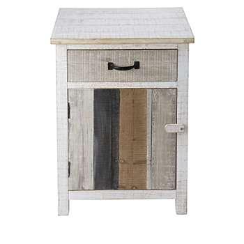 NOIRMOUTIER Bleached pine 1-door 1-drawer bedside table (60 x 45cm)