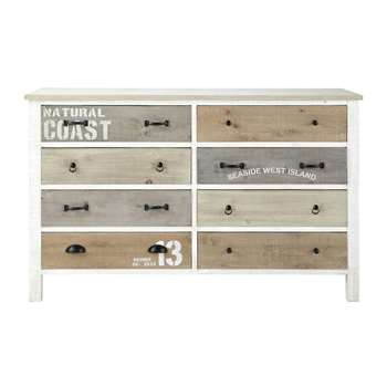 NOIRMOUTIER Wooden chest of drawers in white (86 x 140cm)