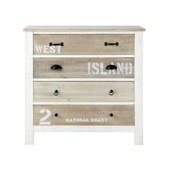 NOIRMOUTIER Wooden chest of drawers in white (86 x 90cm)