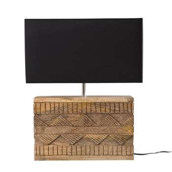 NOMAD Mango Wood Lamp with Black Shade (48 x 40cm)