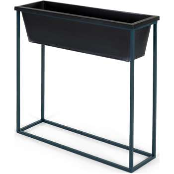 Noor Free Standing High Galvanized Iron Rectangular Plant Stand, Black & Teal (H70 x W70 x D20cm)