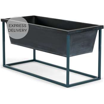 Noor Free Standing Low Galvanized Iron Rectangular Plant Stand, Black & Teal (H35 x W70 x D30cm)