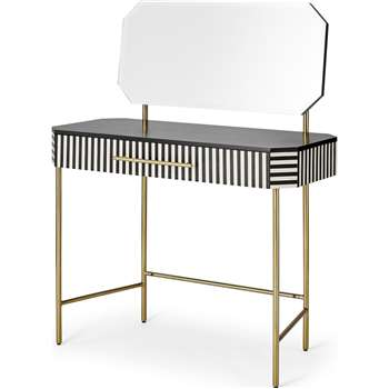 Noorali Dressing Table, Black & White Resin (H122 x W90 x D40cm)