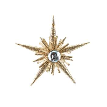 NORD - Gold Star Christmas Hanging Decoration with Glitter and Rhinestones (H12 x W12 x D4cm)