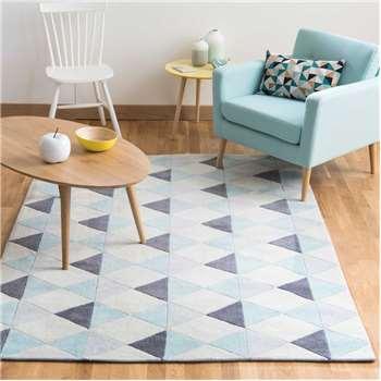 NORDIC low pile rug in blue (140 x 200cm)