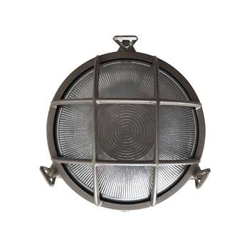 Nordlux Bulkhead Round Outdoor Light, Nickel (H19.5 x W19.5 x D9.3cm)
