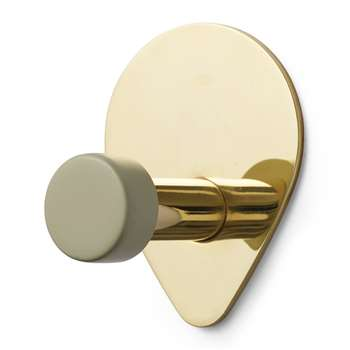 Normann Copenhagen - Peacock Wall Hook - Small - Antique Celadon/Brass (H9 x W7 x D6cm)