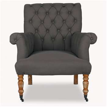 Norton Dark Grey Button Back Arm Chair (89.5 x 82cm)