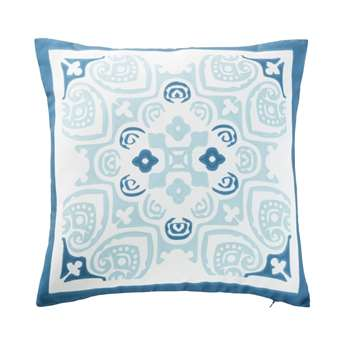 NOSSA White Outdoor Cushion with Blue Cement Tile Print (H45 x W45cm)