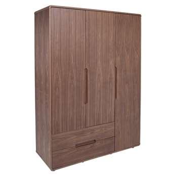 Notch wardrobe three door with drawers walnut (200 x 142cm)