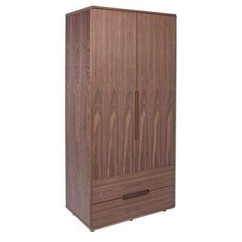 Notch wardrobe two door with drawers walnut (200 x 96cm)