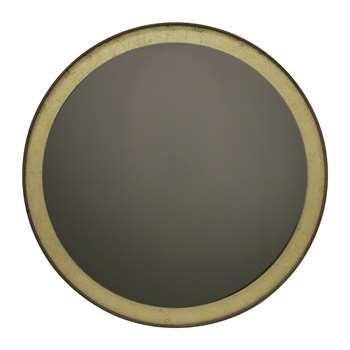 Notre Monde - Gold Leaf Bronze Round Wall Mirror (88 x 88cm)