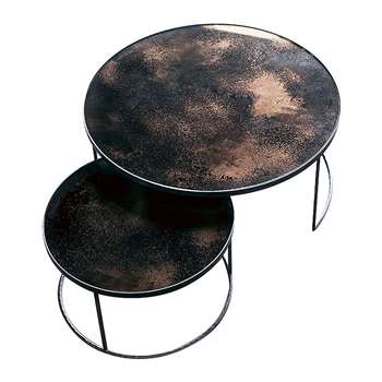 Notre Monde - Heavy Aged Mirror Coffee Table Set - Round - Bronze (41 x 92cm)