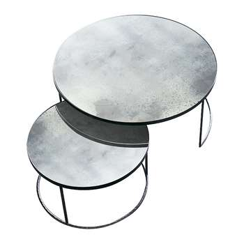 Notre Monde - Heavy Aged Mirror Coffee Table Set - Round - Clear (41 x 61cm)
