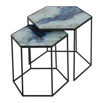 Notre Monde - Hexagonal Side Table Set - Cobalt Mist (54 x 66cm)