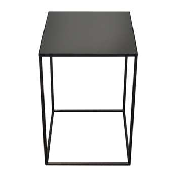 Notre Monde - Large Charcoal Mirror Square Side Table - Mid (H60 x W40 x D40cm)