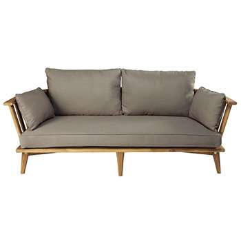 NOUMEA 2/3-seater garden bench in solid acacia with taupe cushions (73 x 175cm)
