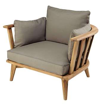 NOUMEA Garden armchair in solid acacia with taupe cushions (69 x 94cm)