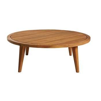 NOUMEA Round garden coffee table in solid acacia (35 x 100cm)