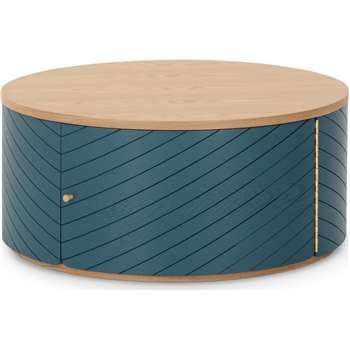 Novak Coffee Table, Ash and Teal (H36 x W80 x D80cm)