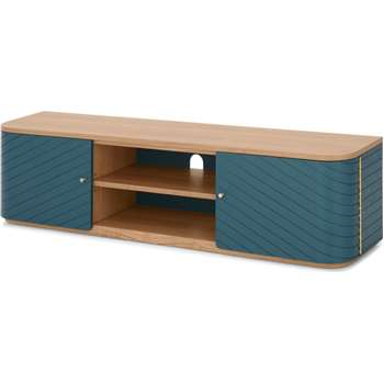 Novak Media Unit, Ash and Teal (H40 x W155 x D35cm)