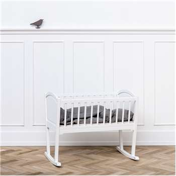 Nursery Rocking Baby Crib/Cradle in White (72 x 86cm)