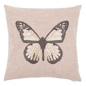 NYMPHALAE Beige Cushion Cover with Embroidered Butterfly (H40 x W40cm)