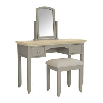 Oakham Pale French Grey Dressing Table Mirror and Stool (80 x 110cm)
