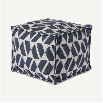 Oblique Square Pouffe, Teal Blue & Grey (H40 x W45 x D45cm)