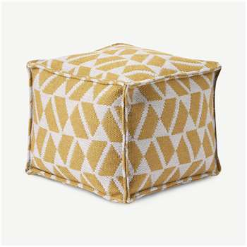 Oblique Square Pouffe, Yellow & Grey (H40 x W45 x D45cm)