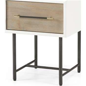 Ocanda Bedside Table, White & Pine (H49 x W38 x D40cm)