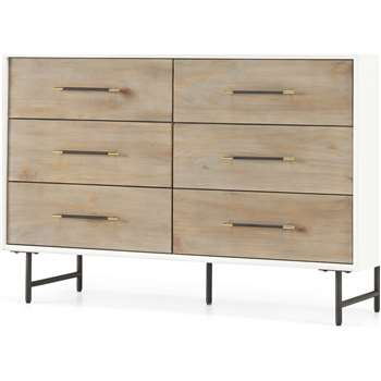 Ocanda Wide Chest Of Drawers, White & Pine (H80 x W120 x D43cm)