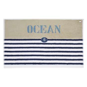OCÉAN Cotton Stripe Bath Mat In Blue (50 x 80cm)