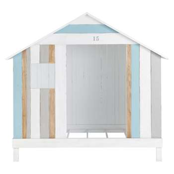 OCEAN Wooden 90 x 190cm child's hut bed in white and blue