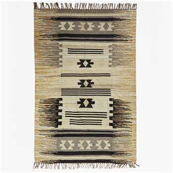 Ochre & Grey Striped Aztec Rug - Ochre/Grey (120 x 180cm)