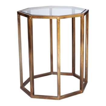 Octagon Side Table, Small - Brass (H60 x W49 x D49cm)