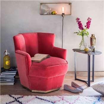 Octagonal Coral Velvet Tub Chair (H71 x W75 x D75cm)