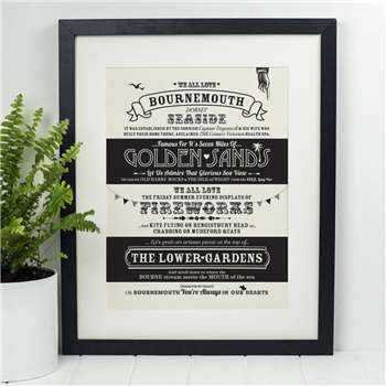 Octavia Plum - Bournemouth Location Typography Print (H40 x W30cm)