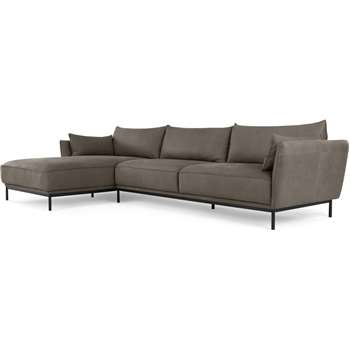 Odelle Left Hand Facing Chaise End Corner Sofa, Texas Grey Leather (H76 x W306 x D169cm)