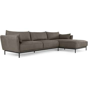 Odelle Right Hand Facing Chaise End Corner Sofa, Texas Grey Leather (H76 x W309 x D169cm)