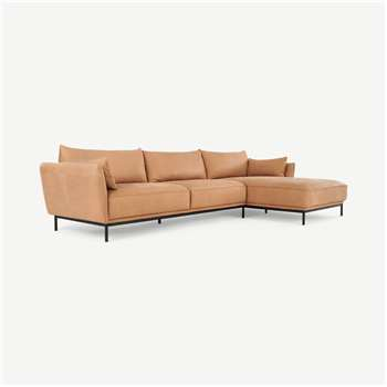 Odelle Right Hand Facing Chaise End Corner Sofa,Texas Tan Leather (H76 x W309 x D169cm)