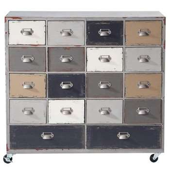 ODÉON Wooden Cabinet on Castors in Grey (H81 x W85 x D32cm)